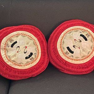 Chinese 1950s Silk Embroidered Crane Round Pillows